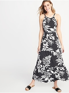 Waist-Defined Tiered Jersey Maxi for Women
