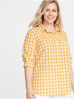 Patterned No-Peek Plus-Size Classic Shirt