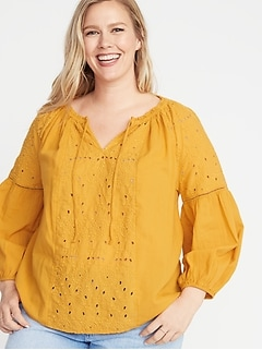 Plus-Size Tie-Neck Cutwork Blouse