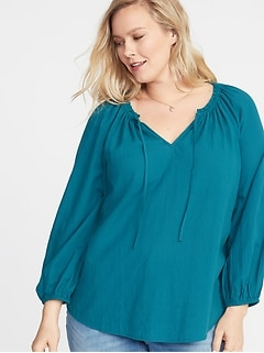 Tie-Neck Plus-Size Blouse