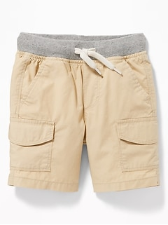 Functional Drawstring Rib-Knit Waist Cargo Shorts for Toddler Boys