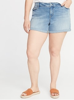 Mid-Rise Boyfriend Distressed Plus-Size Jean Shorts - 5-Inch Inseam