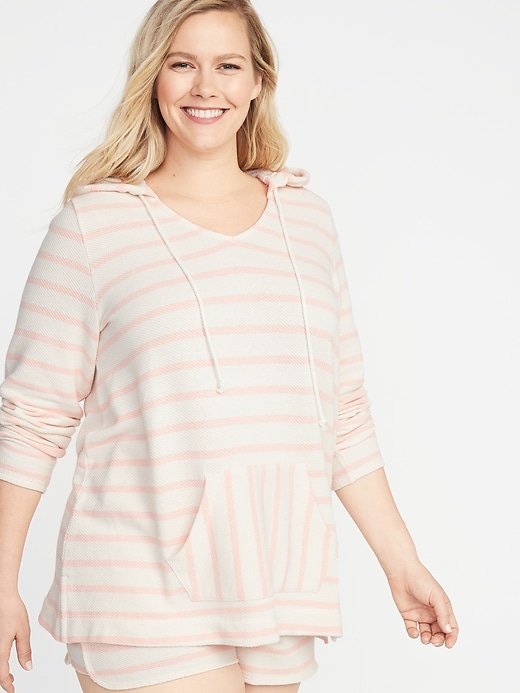 Striped French Terry Plus-Size Pullover Hoodie