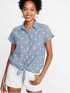 Palm Tree-Print Linen-Blend Tie-Hem Shirt for Women