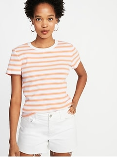 Slim-Fit Striped Rib-Knit Ringer Tee for Women