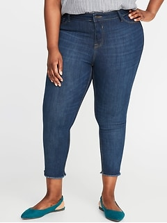 High-Rise Secret-Slim Pockets Plus-Size Released-Hem Cropped Rockstar Jeans