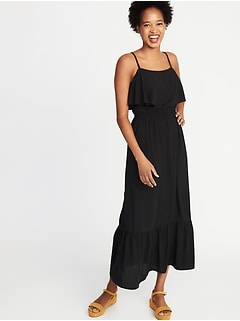 Ruffle-Tiered Waist-Defined Maxi for Women
