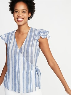 Striped Linen-Blend Wrap Top for Women