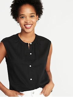 Sleeveless Button-Front Top for Women