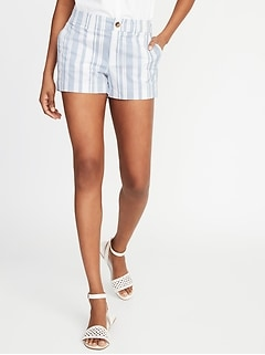 Mid-Rise Vertical-Stripe Everyday Shorts for Women - 3.5-inch inseam