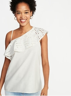 One-Shoulder Ruffle-Trim Top for Women