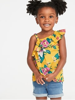 One-Shoulder Ruffle-Trim Swing Top for Toddler Girls