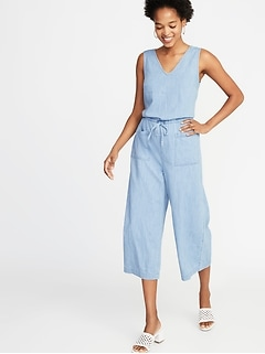 Sleeveless V-Neck Utility Jumpsuit for Women