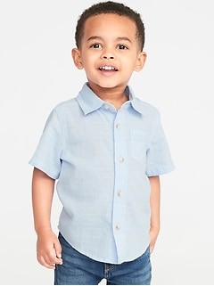 Soft-Washed Dobby Shirt for Toddler Boys