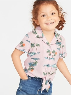 Printed Tie-Hem Getaway Shirt for Toddler Girls