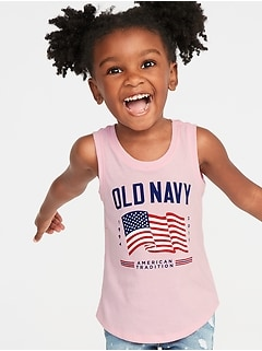 2019 Flag-Graphic Muscle Tank for Toddler Girls