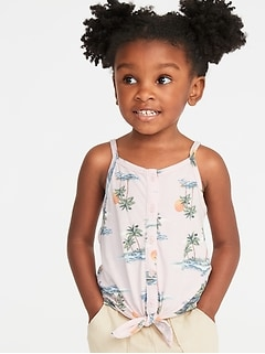 Tie-Hem Button-Front Tank for Toddler Girls