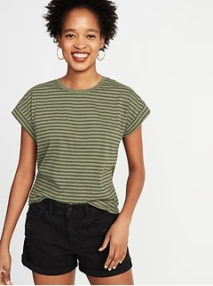 Relaxed Dolman-Sleeve Striped Tee for Women