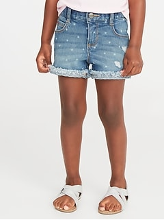 Cuffed Denim Cutoffs for Toddler Girls