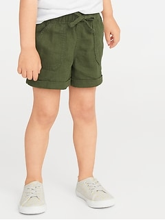 Linen-Blend Utility Shorts for Toddler Girls