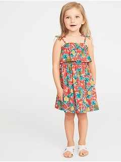 Printed Jersey Ruffled Fit & Flare Dress for Toddler Girls