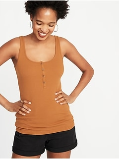 First-Layer Fitted Rib-Knit Henley Tank for Women