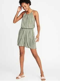 Waist-Defined Striped Keyhole-Front Romper for Women