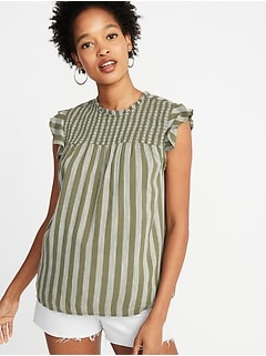 Smocked-Yoke Slub-Weave Flutter-Sleeve Top