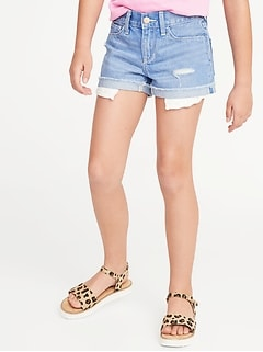 Exposed-Pocket Distressed Denim Shorts for Girls
