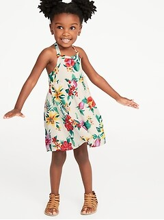 Printed Ruffle-Trim Halter Midi Dress for Toddler Girls