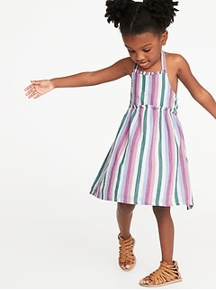 Striped Ruffle-Trim Halter Midi Dress for Toddler Girls