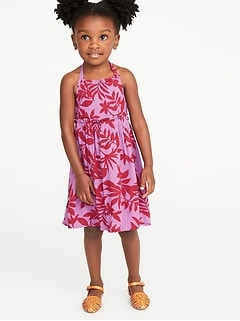 18a655f38e2 Printed Ruffle-Trim Halter Midi Dress for Toddler Girls