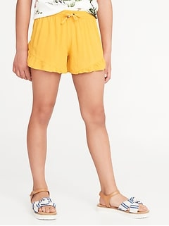 Soft Ruffle-Hem Pull-On Shorts for Girls