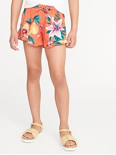 Printed Soft Ruffle-Hem Pull-On Shorts for Girls