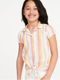 Patterned Tie-Hem Getaway Shirt for Girls