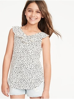 Cheetah-Print Ruffled Slub-Knit Top for Girls