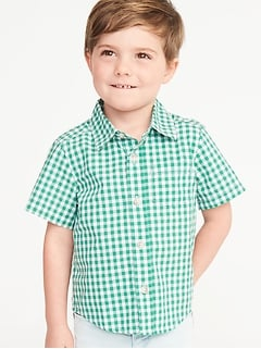 Built-In Flex Gingham-Pattern Shirt for Toddler Boys