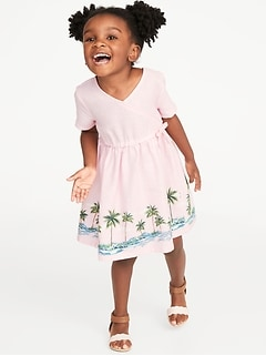 Printed Faux-Wrap Linen-Blend Dress for Toddler Girls