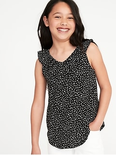 Printed Ruffled V-Neck Slub-Knit Top for Girls