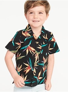 Bird-of-Paradise Print Built-In Flex Getaway Shirt for Toddler Boys