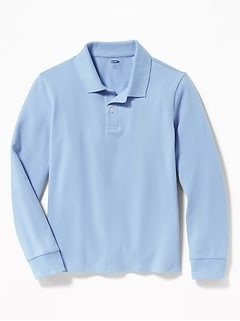 Uniform Built-In Flex Long-Sleeve Pique Polo for Boys