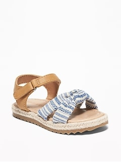 Knotted Linen-Blend Espadrille Sandals For Toddler Girls