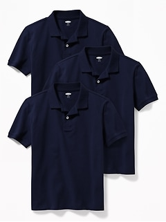 Built-In Flex Uniform Pique Polo 3-Pack for Boys