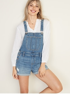 Distressed Jean Shortalls For Women