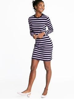Fitted Striped Jersey Shift Dress for Women