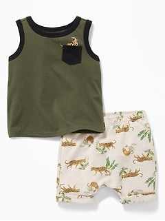 Graphic Pocket Tank & French Terry Shorts Set for Baby
