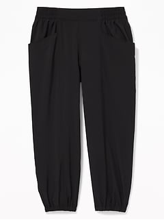 Quick-Dry 4-Way Stretch Cropped Joggers for Girls