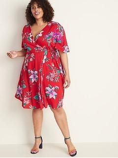 Faux-Wrap Waist-Defined Plus-Size Dress