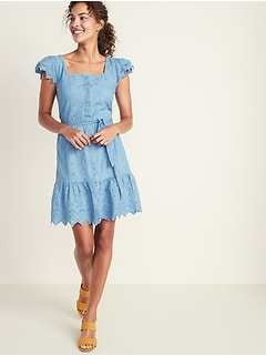 Chambray Cutwork Waist-Defined Tie-Belt Dress for Women