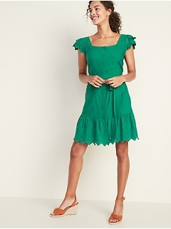 Embroidered Eyelet Waist-Defined Tie-Belt Dress for Women